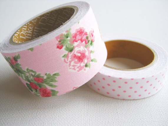 Fabric Tape Linen Tape Pink Vintage Pink Rose White pink dot Floral Set ,Pretty Tape, 2 rolls, kawaii,card making ,gift package, scrapbook,