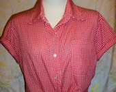 Women's Red/White Gingham Vintage Top