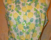 Woolrich Floral Sleeveless Blouse Vintage
