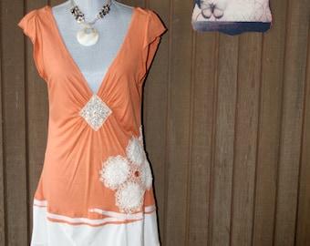Upcycled Tattered Shabby Chic Dress Rustic Ranch Dress Cottage Prairie Gypsy Bohemian Bojo Dress