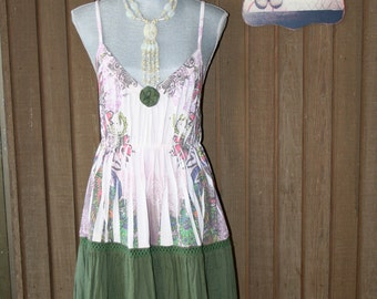 Upcycled Tattered Ranch Sundress Shabby Chic Mori Girl  Boho Gypsy Dress Country Chic Prairie Girl