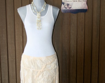 Upcycled Tattered Shabby Chic Skirt Country Ranch Prairie Girl Skirt Cowgirl Beach Cottage