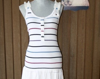 Upcycled Tattered Shabby Chic Dress Sailor Beach Cottage Sundress Boho Country Chic Cowgirl Dress