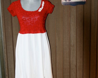 Upcycled Tattered Shabby Chic Ranch Prairie Girl Dress Country Chic Cowgirl Beach Cottage