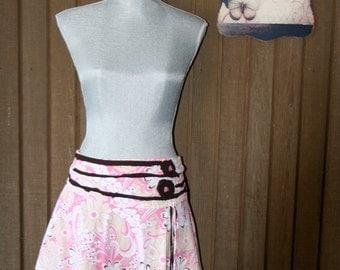 Upcycled Tattered Country Chic Skirt Bohemian French Country Skirt Shabby Chic Mini Skirt
