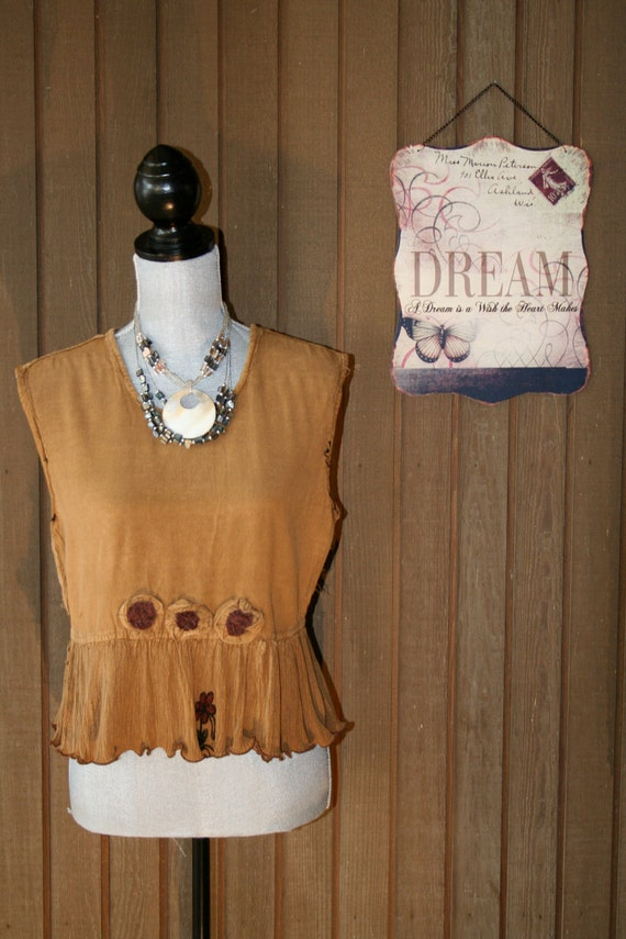 Upcycled Tattered Boho Chic Shirt Mori Girl Shabby Chic Tunic Country Cowgirl Ranch Blouse Prairie Girl Top