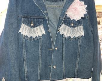 Sale !!  Denim Jacket, Upcycled, Shabby Chic, Embellished, Altered