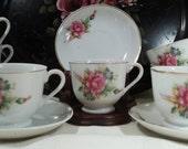 Vintage cup and saucer set moss rose japan teacups 7 cups 7 saucers 1940's