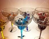Hand painted Margarita glasses - set of 6