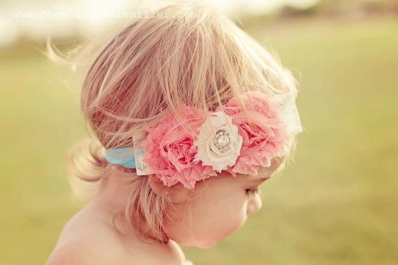 Baby Girl Headband- Shabby Chic Headband- Top Baby Headband- Newborn Headband-  Flower Girl Headband- Baby Hair Bow