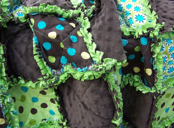 Chocolate Pistachio Crib Rag Quilt...Soft Minky for Baby Boy or Girl...Easter Basket Filler...ready to ship