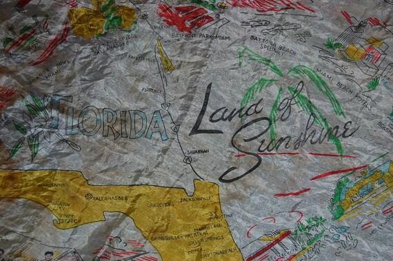 vintage silk scarf souvenir Florida state land of  sunshine