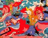 Kawaii Japanese Anime Fabric Tako Wako, Hot Pink 1/2 yd