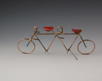 TANDEM BICYCLE SCULPTURE:cooper and steel tandem bike, home decor,metal sculpture, metal art,metalwork
