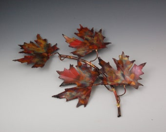 COPPER MAPLE LEAF: handcrafted metal sculpture,home decor,