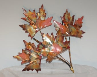 Copper Maple leaf branch: handcrafted metal sculpture,home decor, metal wall art