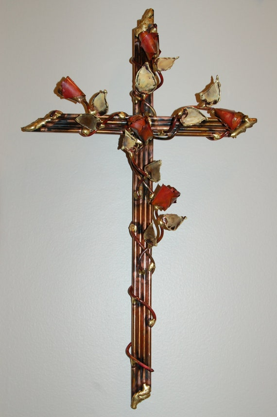 Copper steel and bronze Wall CROSS with 5 Roses metal