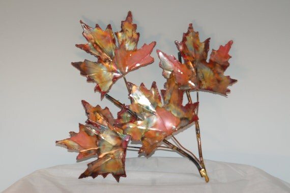 Copper Maple Leaf Branch: Handcrafted Metal Sculpturehome