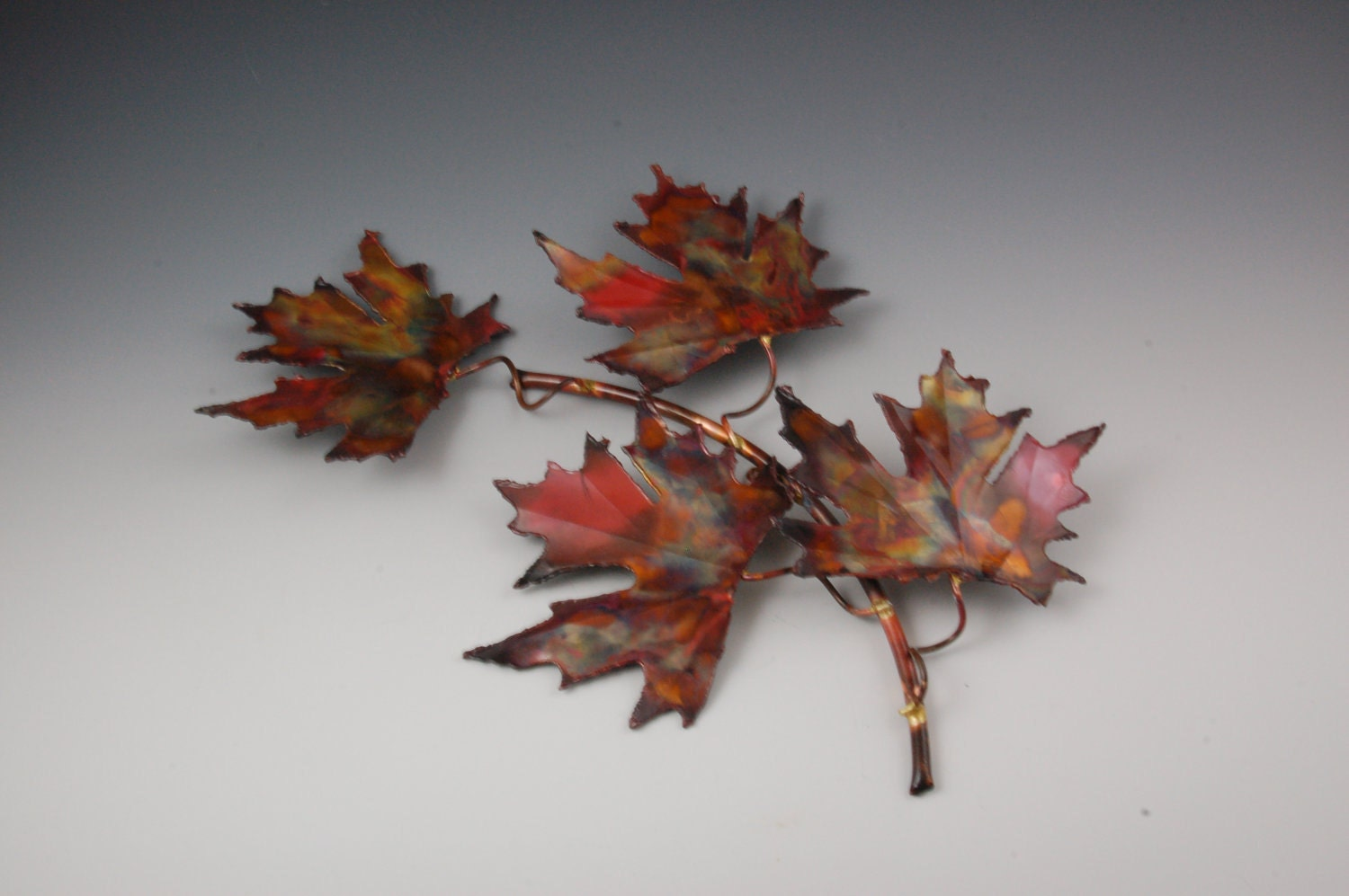 Copper Maple Leaf Handcrafted Metal Sculpture Home Decor