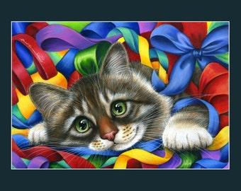Tabby Cat Print Ribbons and Bows by Irina Garmashova