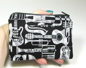 Coin Purse Zipper Pouch Music Instruments Unisex Cell Phone Pouch (padded) black white
