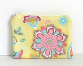Coin Purse small Zipper Pouch - Spring Yellow and Pink with Aqua