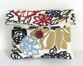 Cosmetic Bag Daisy Lane Makeup Pouch / Clutch Bridesmaid Gift - Blue Navy Red Tan Cosmetic Pouch