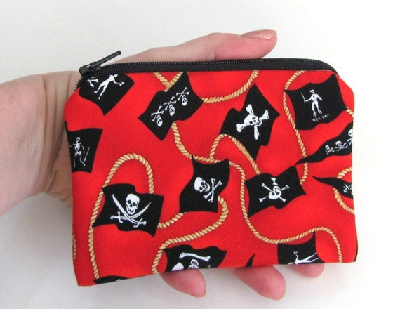 Boys Zipper wallet Pirate Coin Purse or padded Gadget Pouch Kids Accessories