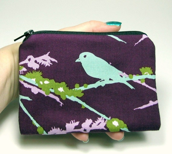Coin Purse - Aqua Bird on Plum Zipper Pouch / Change Purse padded Gadget Case - Joel Dewberry Sparrows - small camera case