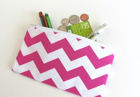 Chevron Zipper Pouch / Padded Camera Pouch Bridesmaids Cosmetic Bag - HEAT WAVE - Sunglasses Clutch iPhone Cell Phone Hot Pink Chevron