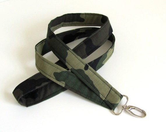 Camo ID Badge Lanyard  Name Tag Holder Fabric Lanyard camo green brown Unisex Lanyard