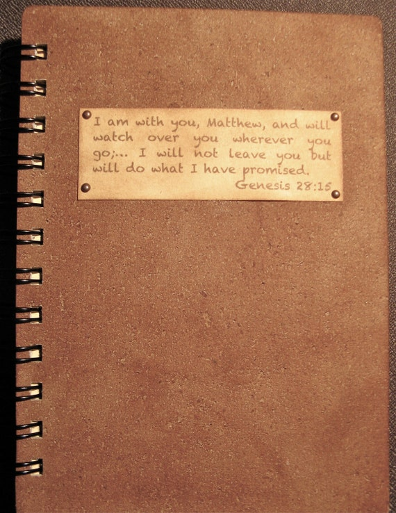 "Personalized Scripture Journal (with your name inserted into the scripture)  - ""Leather Look"""