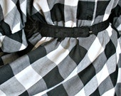 Vintage 1950's Black and White Gingham Circle Skirt Rockabilly Gals