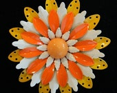 Orange White and Yellow Vintage Flower Brooch