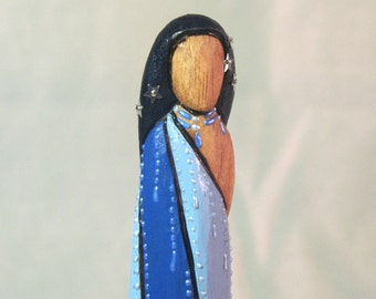 Star Lily Native American Indian faceless doll Ooak Ojibwa Iroquois wood carving art
