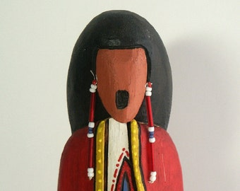 Morning Singer Native American prayer faceless art doll red OOAK collectible