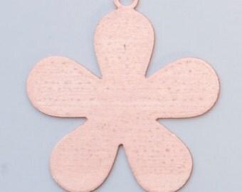 "Copper 24ga- 1"" 5 PETAL FLOWER- Pack of 6"