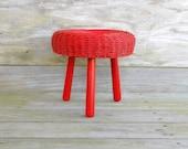 wicker stool / red rattan footstool / ottoman
