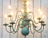 large chandelier / 12 arm / verdigris finish