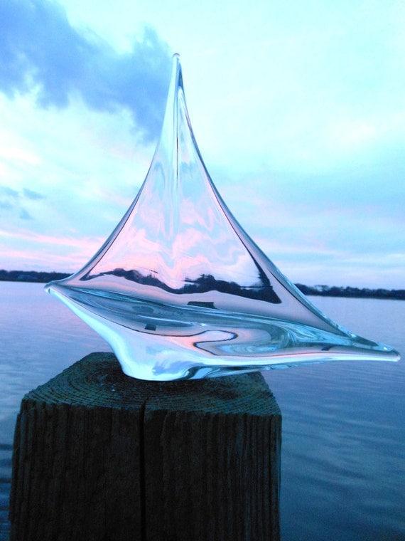 Simon Pearce blown glass sailboat