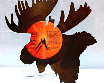 Moose Clock | Vinyl Record • Upcycled Recycled Repurposed • Handmade and Hand Cut • Western • Shadow Art