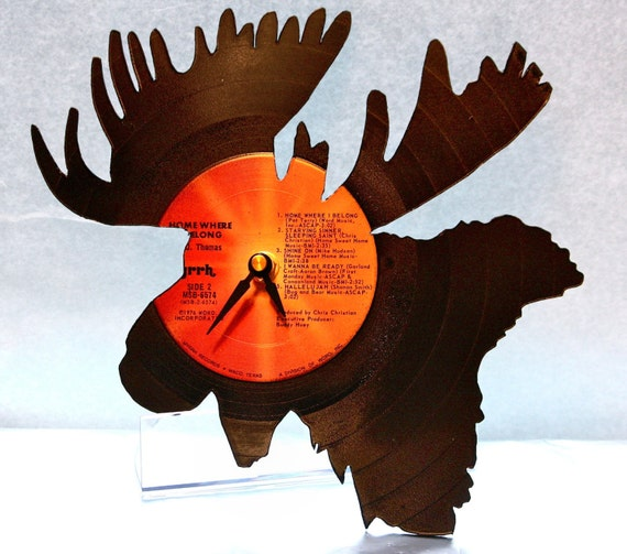 Moose Vinyl Record Clock ~ Handmade and Hand Cut, Upcycled Recycled Repurposed, Handmade Western Shadow Art Decor