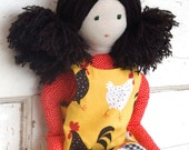 """Waldorf Inspired Style Soft Cloth Doll """"Julia"""" with Reversible Dress"""