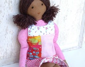"""Waldorf Inspired Style Soft Cloth Doll """"Lena"""" with Reversible Dress"""