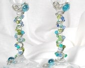 SEASIDE Beaded Wedding Champagne Toasting Flutes Glasses Stemware in Seafoam Olive Green, Teal, Pool Blue Swarovski Crystal and Glass beads