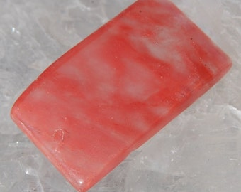 Strawberry Quartz Focal Bead Rectangle Pendant Cherry Pink 20x35mm