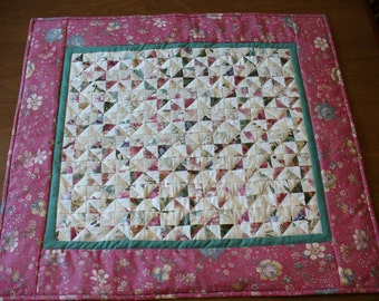 Dusty Rose and Green Quilt or Wall Hanging