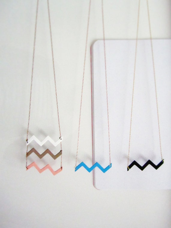 Neapolitan Ice Cream chevron necklace - strawberry, chocolate, vanilla vintage enamel chevrons - free shipping