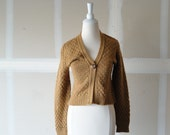 vintage sweater 70s tan button up long sleeved acrylic sweater size medium cotton emporium