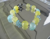 Aqua Blue Chalcedony and Lemon Yellow Agate Bracelet